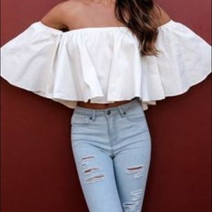 Tops - NWT off shoulder cropped blouse